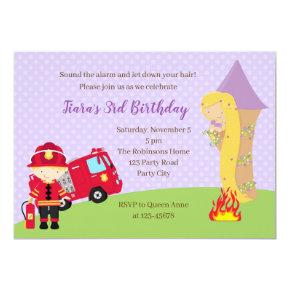 Rapunzel & Firefighter Birthday Invitation