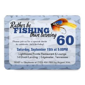 Rather Be Fishing Custom Birthday Party Invitations