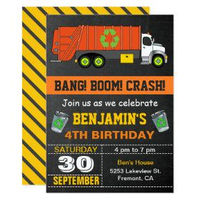 Recycling Garbage Truck Birthday Party Invitations