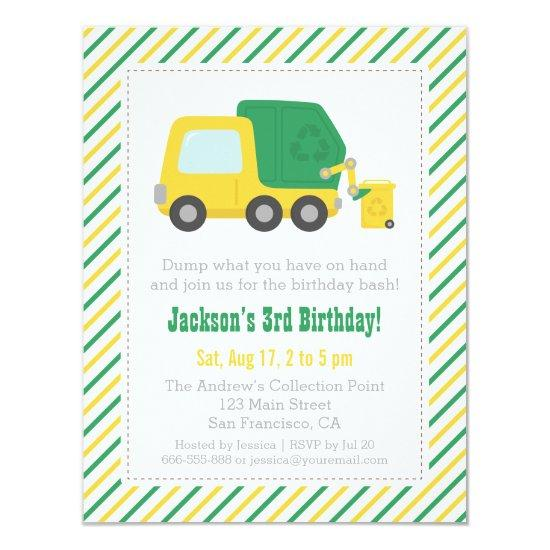 Recycling Garbage Truck Theme Boys Birthday Party Invitations