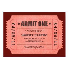Red Admit One Ticket