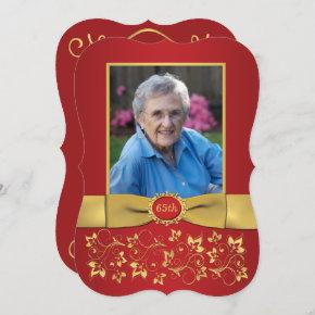 Red and 65th Photo Birthday Invitation