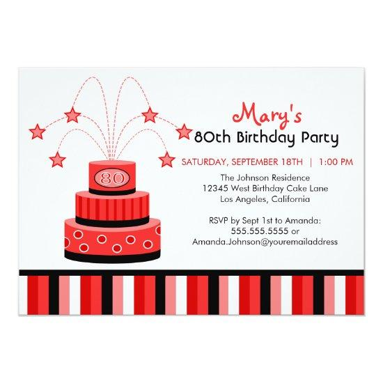 red and black 80th birthday cake party invitation candied clouds