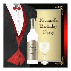 Red and Black Aged to Perfection Birthday Party Invitation