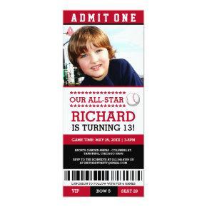Red and Black Baseball Ticket Birthday Invites