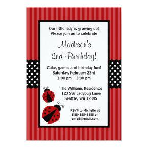 Red and Black Ladybug Striped Dots Birthday Party Card