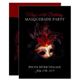 Red and Black Masquerade Party Invitation