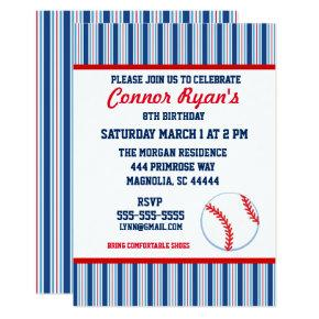 Red and Blue Baseball Birthday Invitations