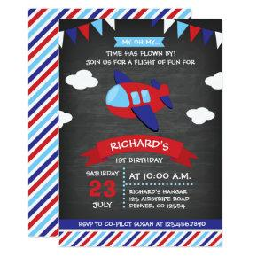 Red and Blue Chalkboard Airplane Birthday Party Card
