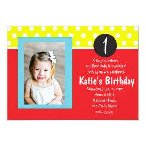 Red and Blue Dots kids Birthday Invitation