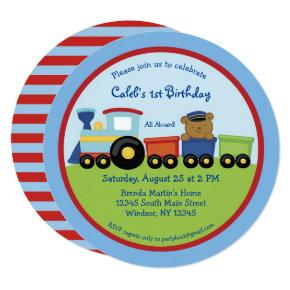 Red and Blue Train First Birthday Invitation