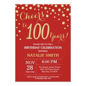 Red and Gold 100th Birthday Diamond Invitation