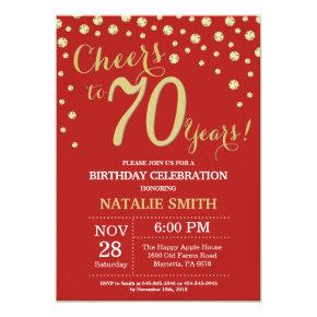 Red and Gold 70th Birthday Diamond Invitation