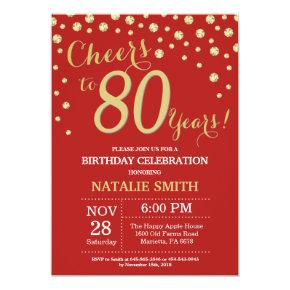 Red and Gold 80th Birthday Diamond Invitation