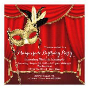 Red and Gold Masquerade Birthday Party Card