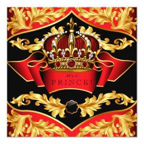 Red and Gold Royal Baby Shower Card