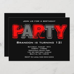 Red and Gray Grunge Birthday Party Invitation