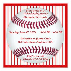 Red and White Pinstripes Baseball Birthday Party Invitations