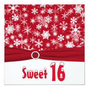 Red and White Snowflake 16th Birthday Invitations