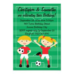 Red and White Twins Soccer Birthday Party Invitation
