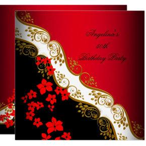 Red Asian Black White Floral Gold Birthday Party Invitation