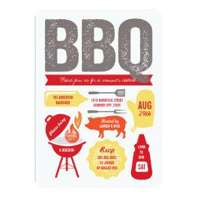 Red BBQ Barbecue Pig Roast Summer Cookout Party Invitations