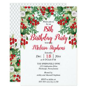 Red Berries | Roses Floral Birthday Party Invitation