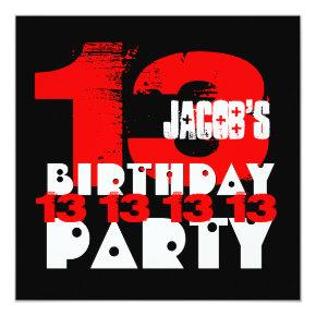 RED BLACK 13th Birthday Party 13 Year Old V05 Card