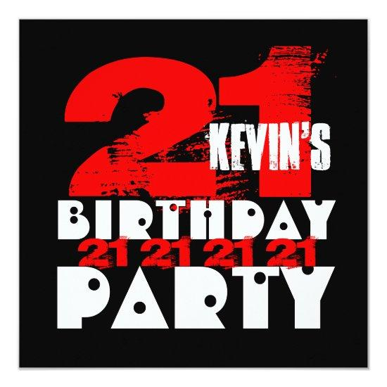 red black 21st birthday party 21 years old v14 invitations candied