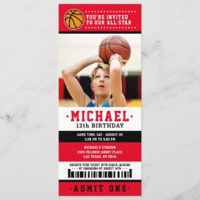 Red black Basketball Ticket Birthday Photo Invitation