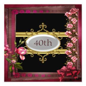 red black birthday party flower frame invitations candied clouds