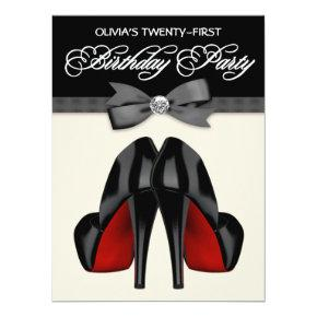 Red Black Bow Tie Womans 21st Birthday Party Invitation