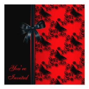 Red Black Butterfly Party Invitation