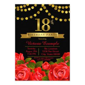 Red Black Gold 18th Birthday Party Invitation