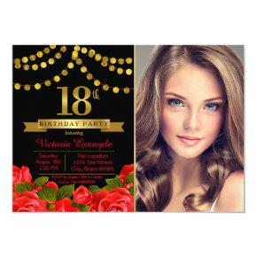 Red Black Gold 18th Birthday Party Invitations
