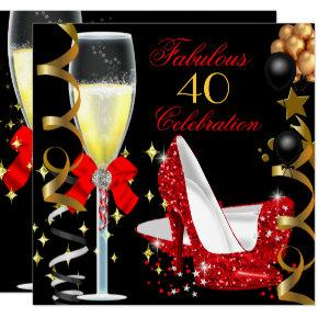 Red Black Gold 40 & Fabulous 40th Birthday Party 2 Invitations