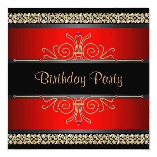 Red Black Gold Womans Birthday Party