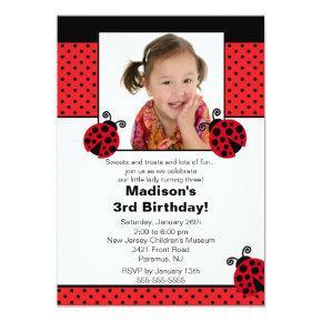 Red & Black Ladybug Photo Birthday Invitation