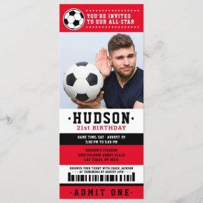 Red Black Soccer Ticket Birthday Party Photo Invitation