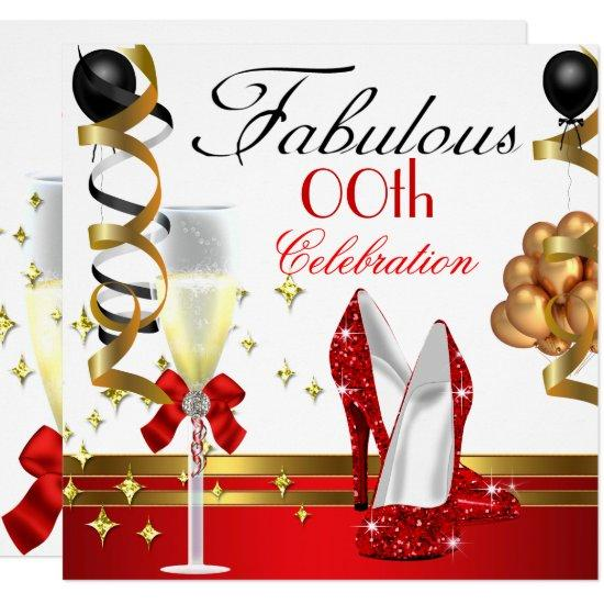 red black white gold fabulous birthday party invitations candied