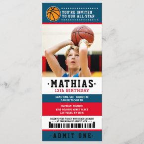 Red Blue Basketball Ticket Birthday Photo Invitation