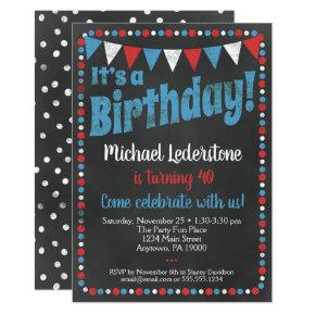 Red Blue Chalkboard Birthday Invitation