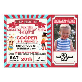 Red Blue Circus Ticket Photo Birthday Invitation