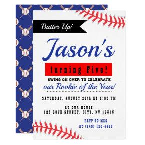 Red & Blue Rookie of the Year Baseball Birthday Invitation