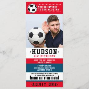 Red Blue Soccer Ticket Birthday Party Photo Invitation