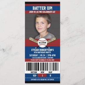 Red|Blue Ticket Style Baseball Birthday Party Invitation