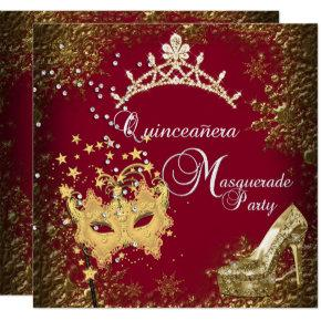 red/burgundy Masquerade Quinceanera 15th Party Invitation