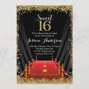 Red Carpet Hollywood Glitter Sweet 16 Birthday Invitation