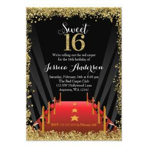 Hollywood Theme Sweet Sixteen Birthday Invitations Candied
