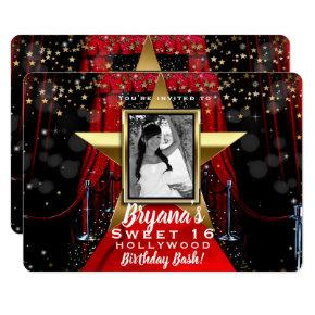 Red Carpet Hollywood Gold Stars Photo Party Invitation